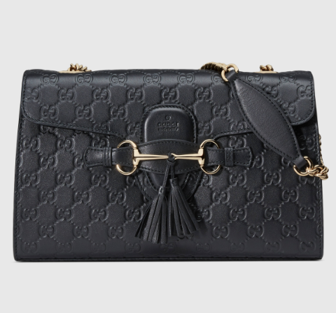129946057d0f Gucci Black Emily Guccissima Leather Chain Shoulder Bag - NET FASHIONISTA