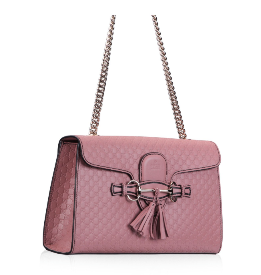 43e3ec1a858b Gucci Pink Emily Guccissima Leather Chain Shoulder Bag - NET FASHIONISTA